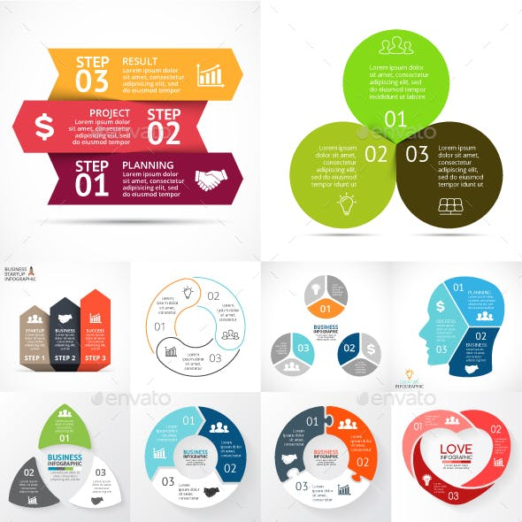 3 Steps Infographics. Vol.2