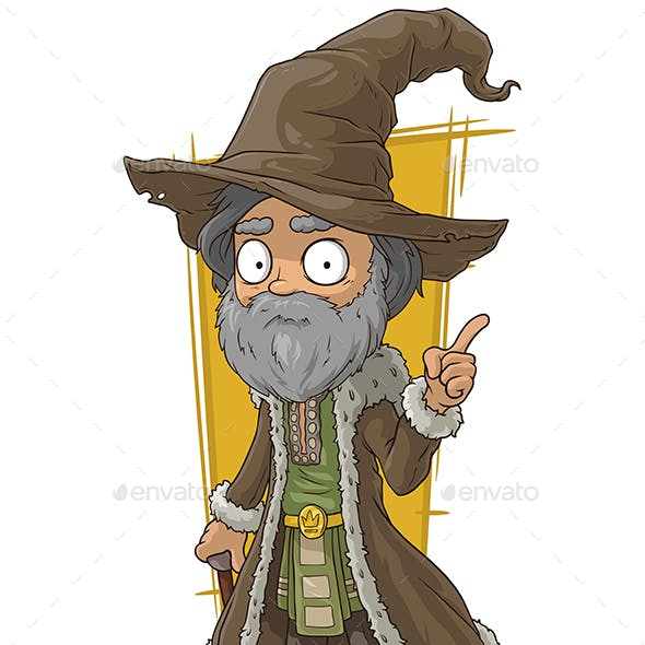 Cartoon Old Wizard in Brown Hat