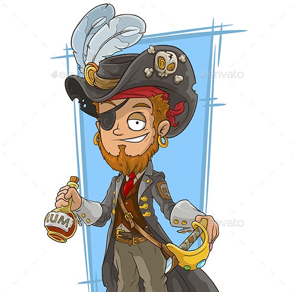 Cartoon Bearded Pirate with Rum