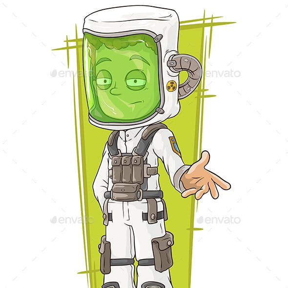 Cartoon Scientist in Protective Mask