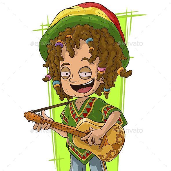 Cartoon Happy Rastaman with Guitar