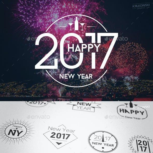 New Year 2017 Badges Logos