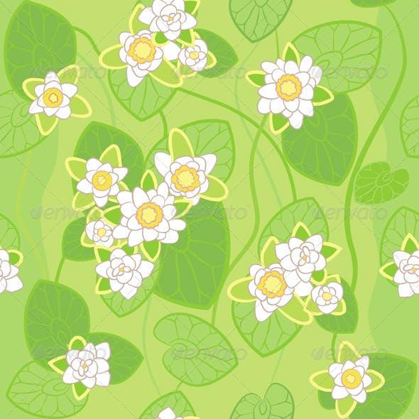 Seamless Pattern of White Lotus