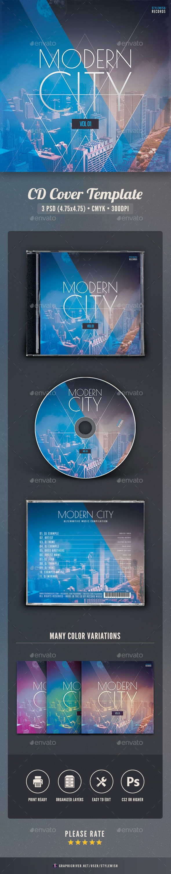 Modern City CD Cover Artwork - CD & DVD Artwork Print Templates