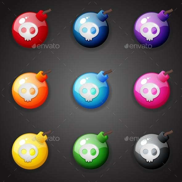 Set of Colorful Bombs with Skull for Match Three Game
