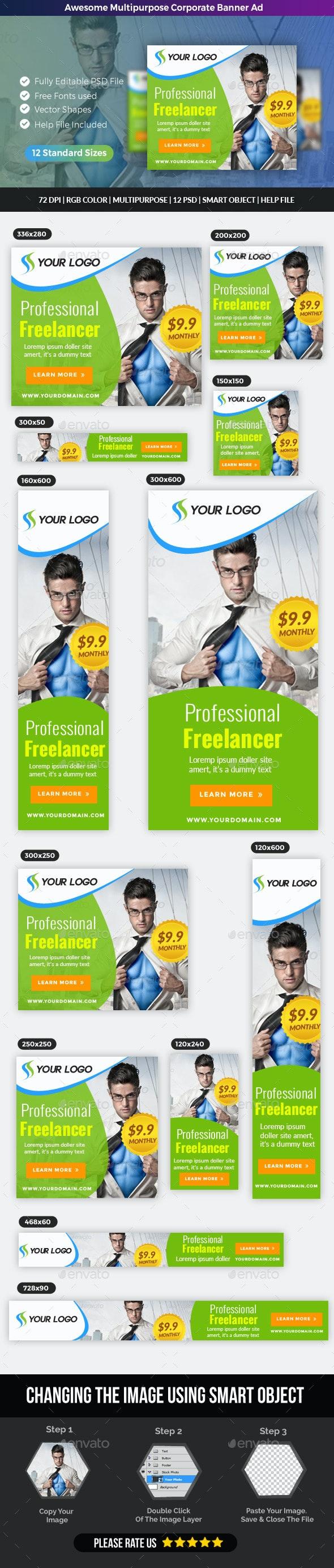 Multipurpose Corporate Banner Ad - Banners & Ads Web Elements