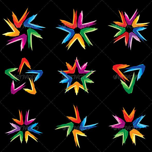 Set of different stars icons #5