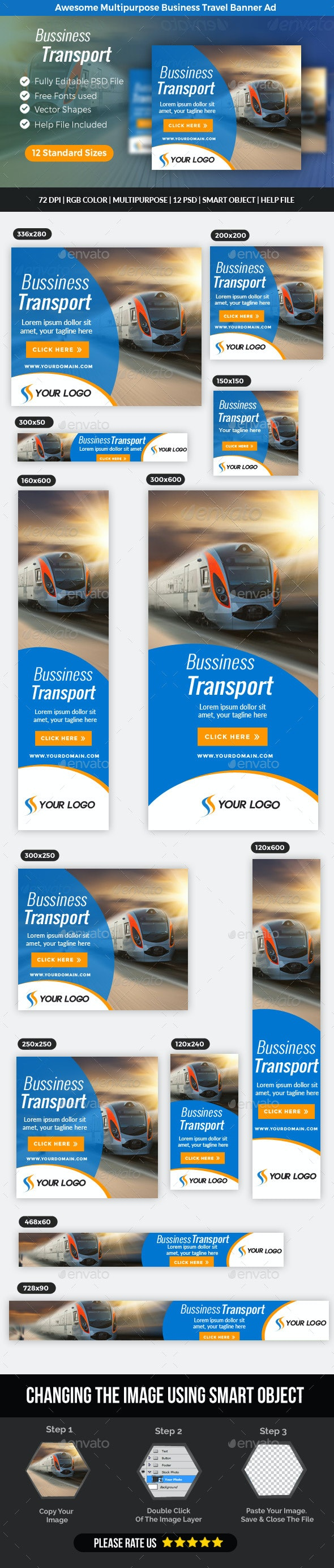 Multipurpose Business Travel Banner  - Banners & Ads Web Elements