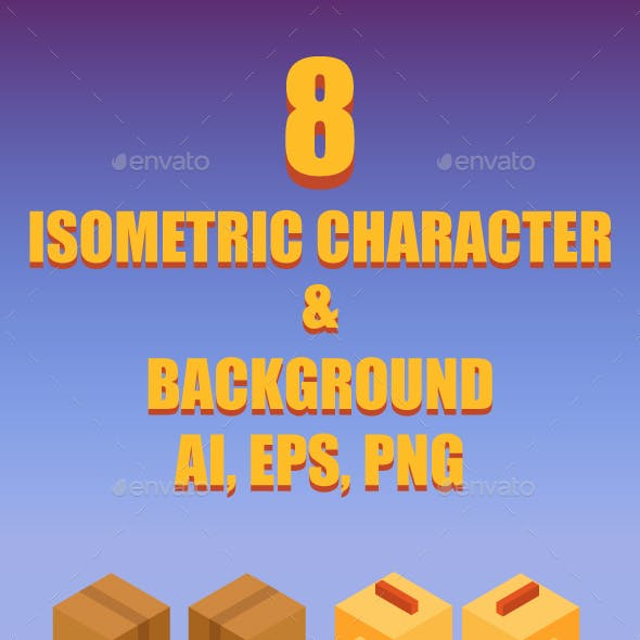 Game Asset : 8 Iso Metric Character & Backgrounds