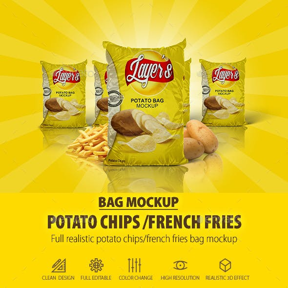 Potato/French Fries Bag Mock-Up