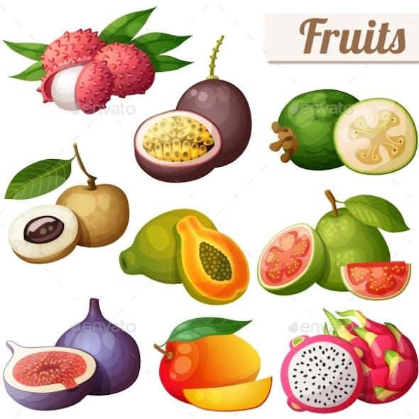 Set of Cartoon Food Icons Exotic Fruits Isolated