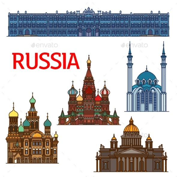 Colorful Linear Travel Landmarks of Russia Icons