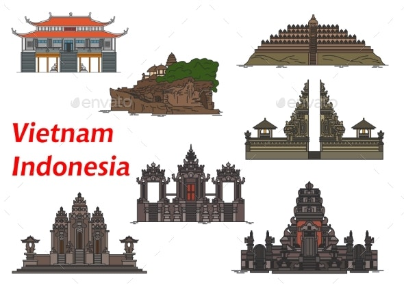Travel Landmarks of Vietnam and Indonesia - Travel Conceptual