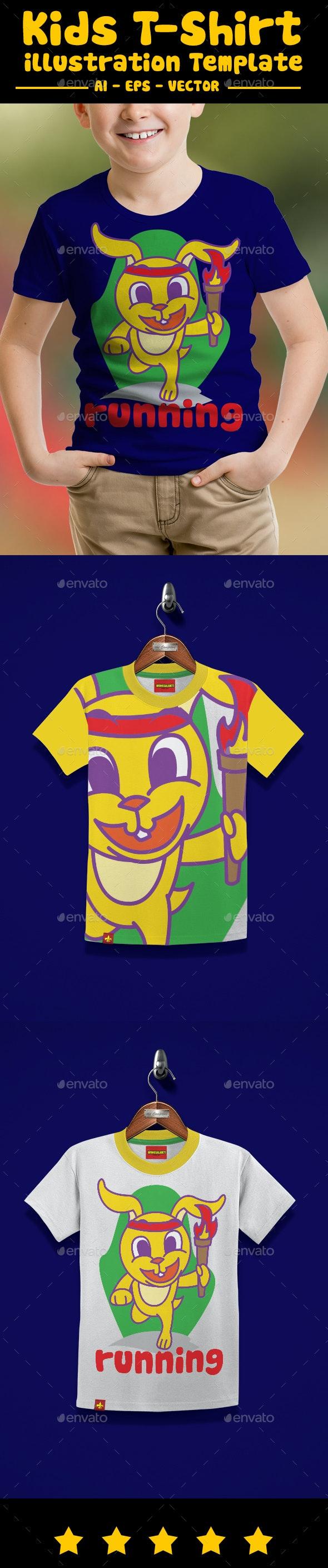 Runner Rabbit Kids T-Shirt - T-Shirts