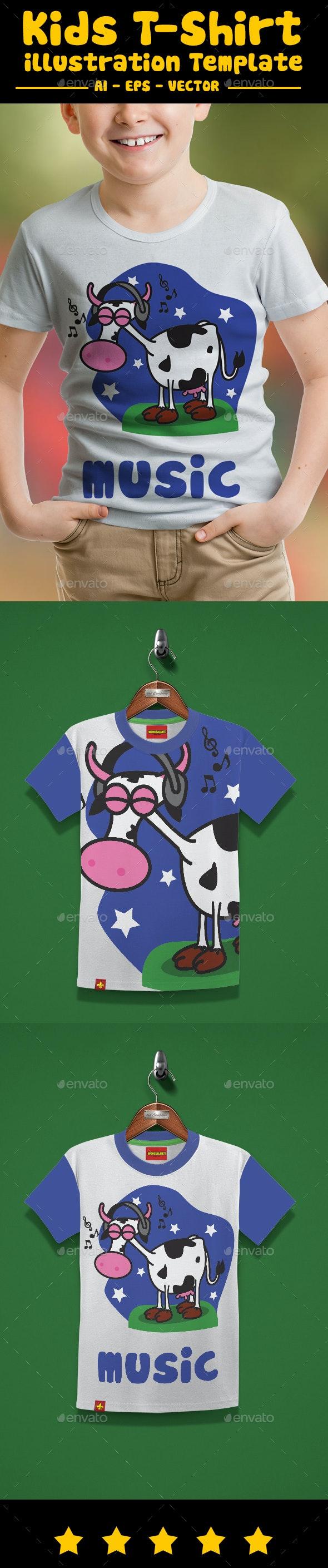 Cow Music Kids T-Shirt Design - Designs T-Shirts