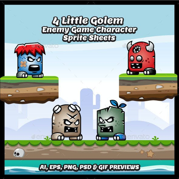4 Little Golem Enemy Game Character