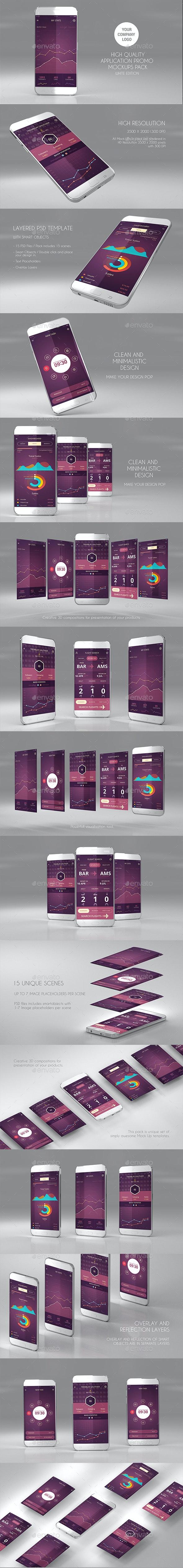 15 App Promo Mock Ups Pack (White Edition) - Mobile Displays