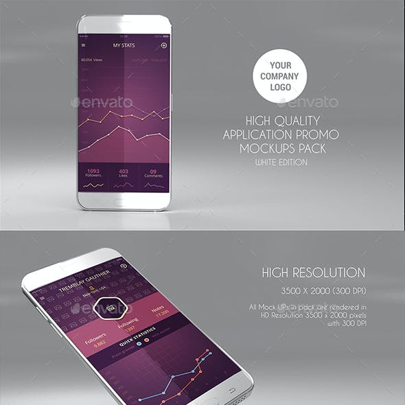 15 App Promo Mock Ups Pack (White Edition)