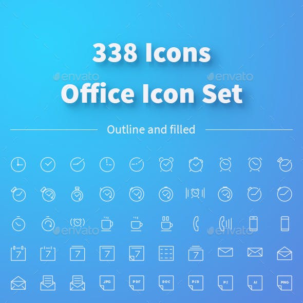Office Icons Set. 338 Outline and Filled Icons