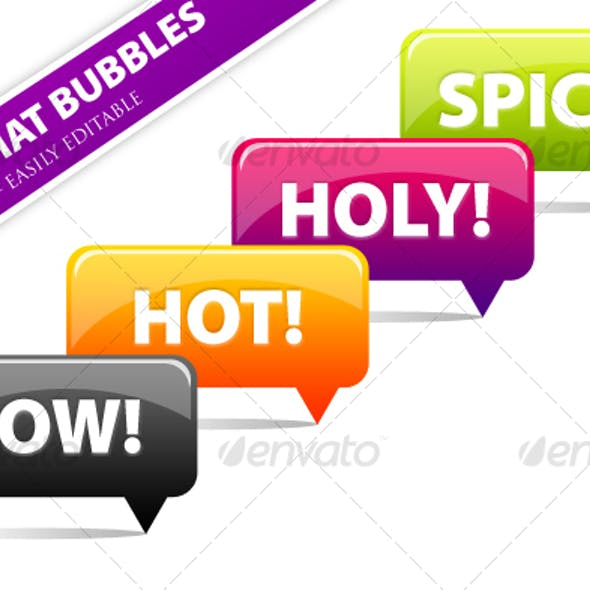 4 Clean 'n' Vibrant Chat Bubbles Pack - PSD Vector