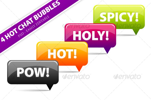 4 Clean 'n' Vibrant Chat Bubbles Pack - PSD Vector - Objects Illustrations