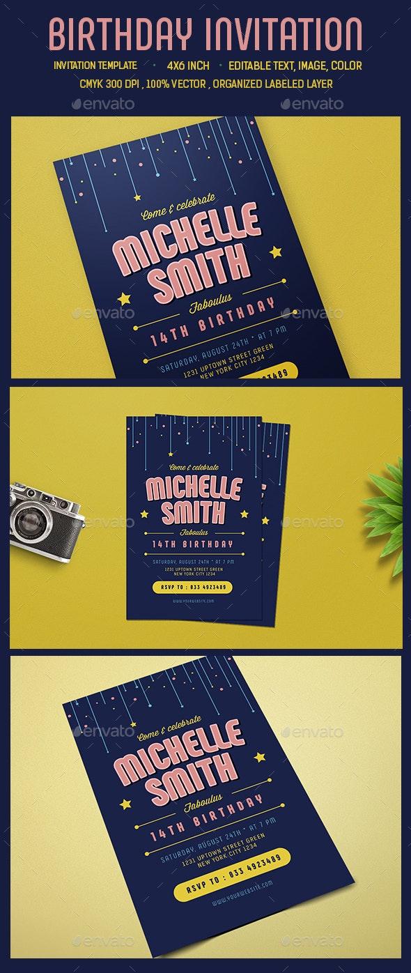 Birthday Invitation /Card - Cards & Invites Print Templates