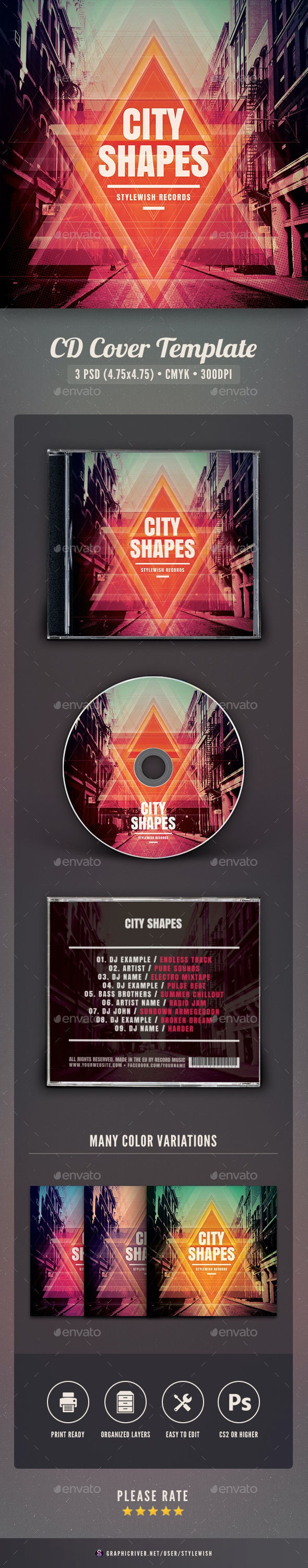City Shapes CD Cover Artwork - CD & DVD Artwork Print Templates