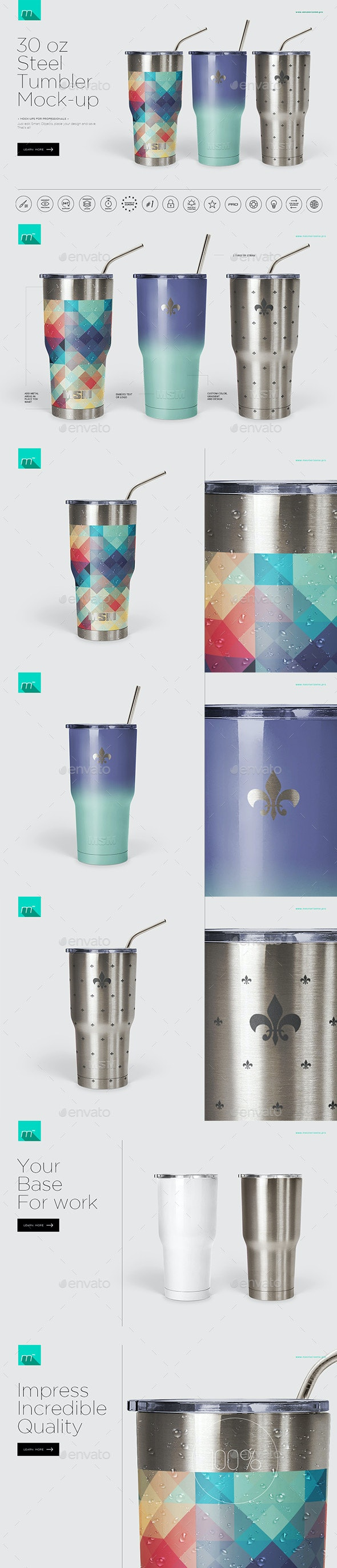 30 oz Stainless Tumbler Mock-up - Product Mock-Ups Graphics