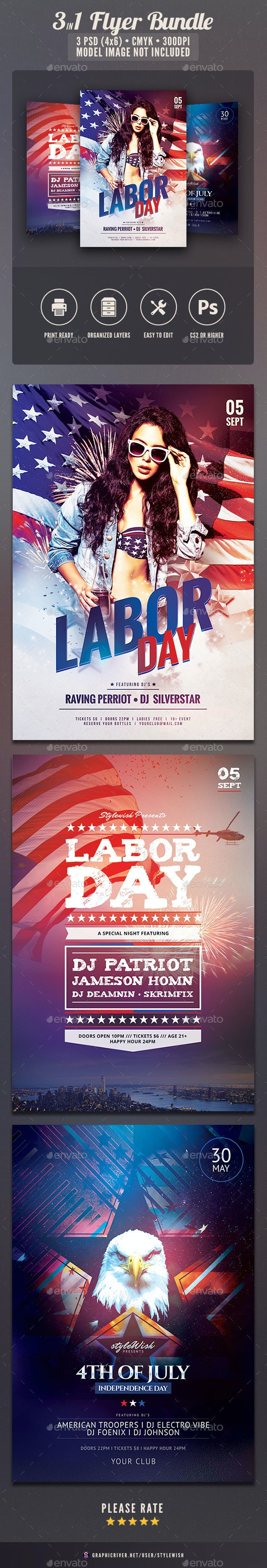 Labor Day Flyer Bundle - Clubs & Parties Events