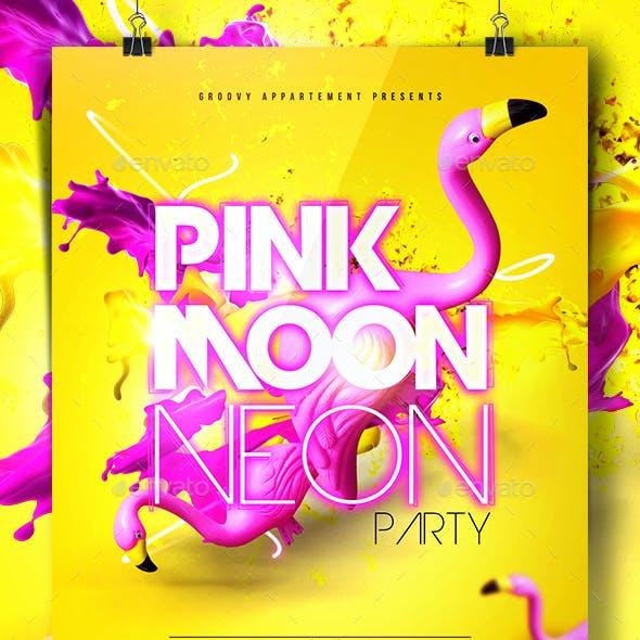 Pink Moon Neon Party Flyer