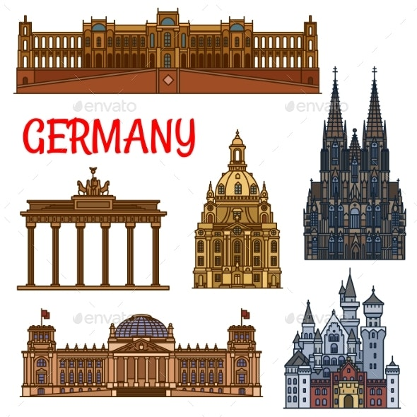 Historic Buildings and Sightseeings of Germany - Travel Conceptual