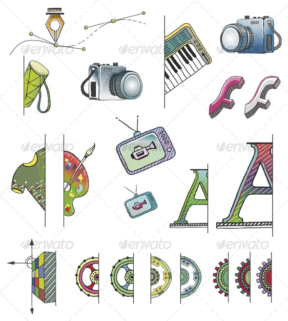 Hand Drawn Vector (+ PSD) FS Icons - Decorative Vectors