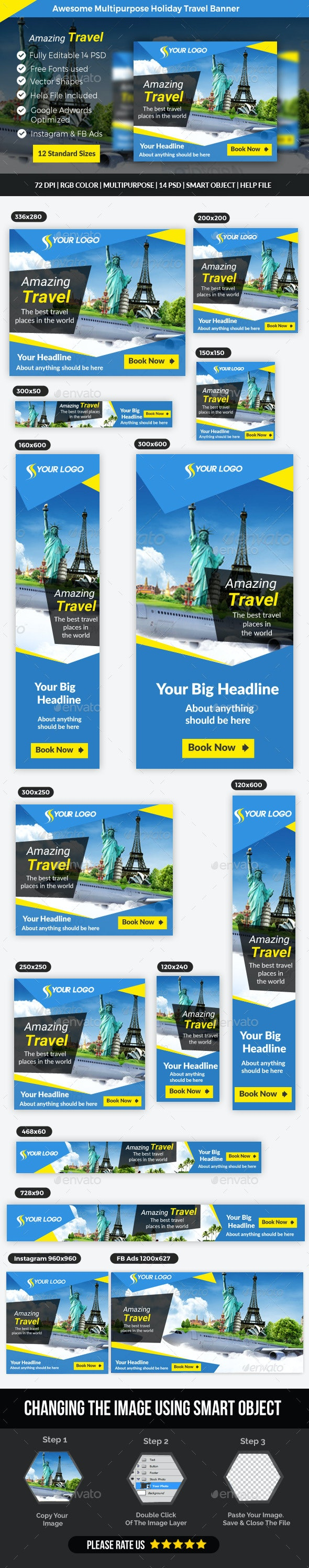 Business Holiday Travel Banner - Banners & Ads Web Elements