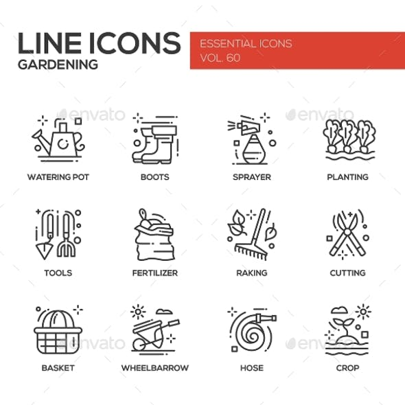 Gardening - Line Design Icons Set