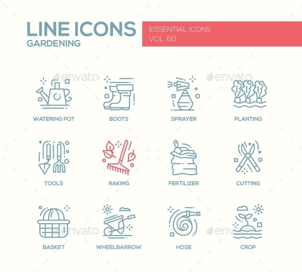 Gardening - Line Design Icons Set - Miscellaneous Vectors