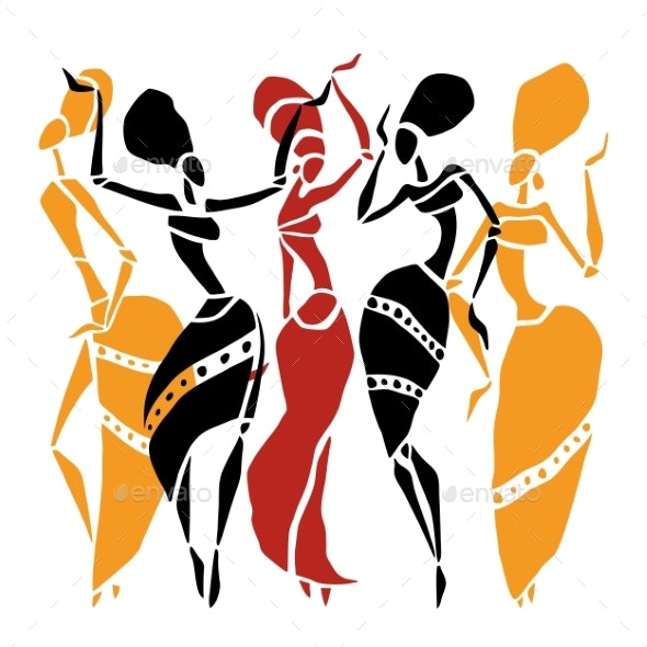 African Dancers Silhouette Set. - People Characters