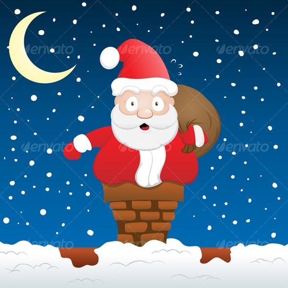 Santa Claus Stuck on a chimney - Christmas Seasons/Holidays