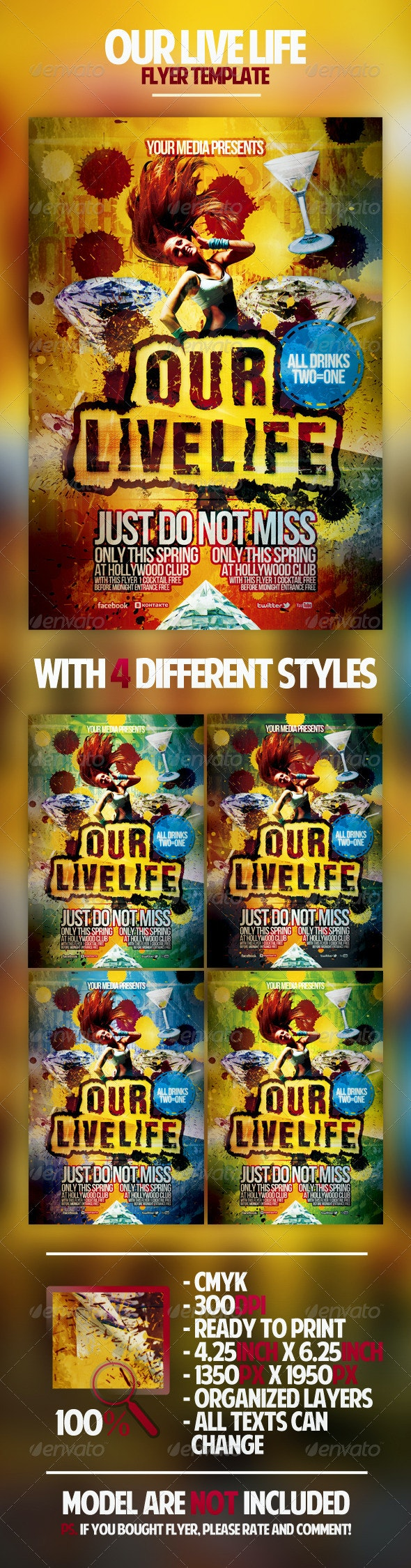 Our Live Life Flyer Template - Clubs & Parties Events