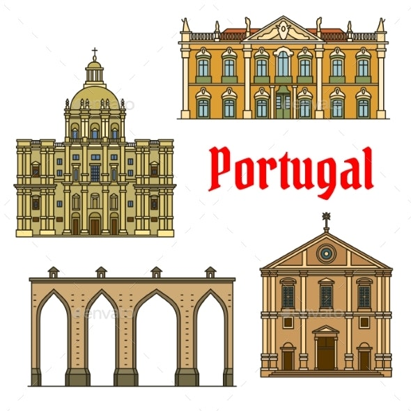 Historic Buildings And Sightseeings Of Portugal - Travel Conceptual