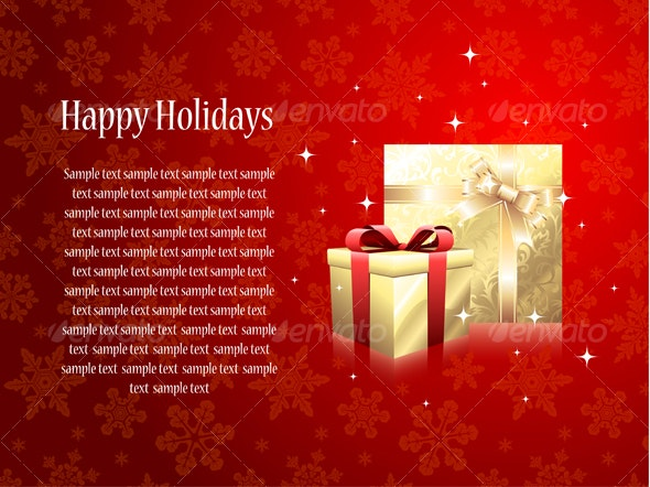 Greeting card with gifts  - Backgrounds Decorative