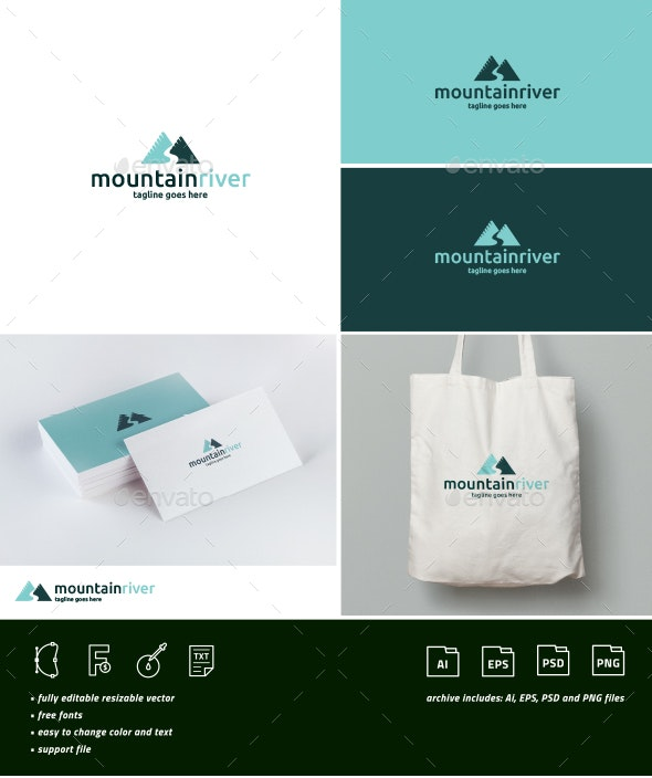 Mountain River Logo - Nature Logo Templates