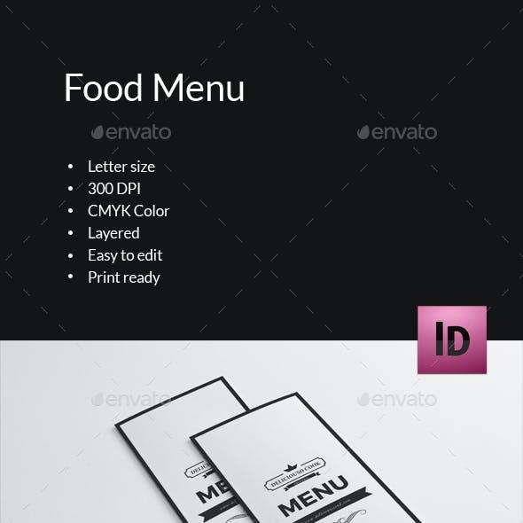 Trifold Brochure for Food Menu-V289