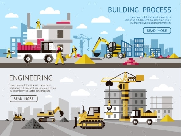 Construction Colored Banner Set - Conceptual Vectors