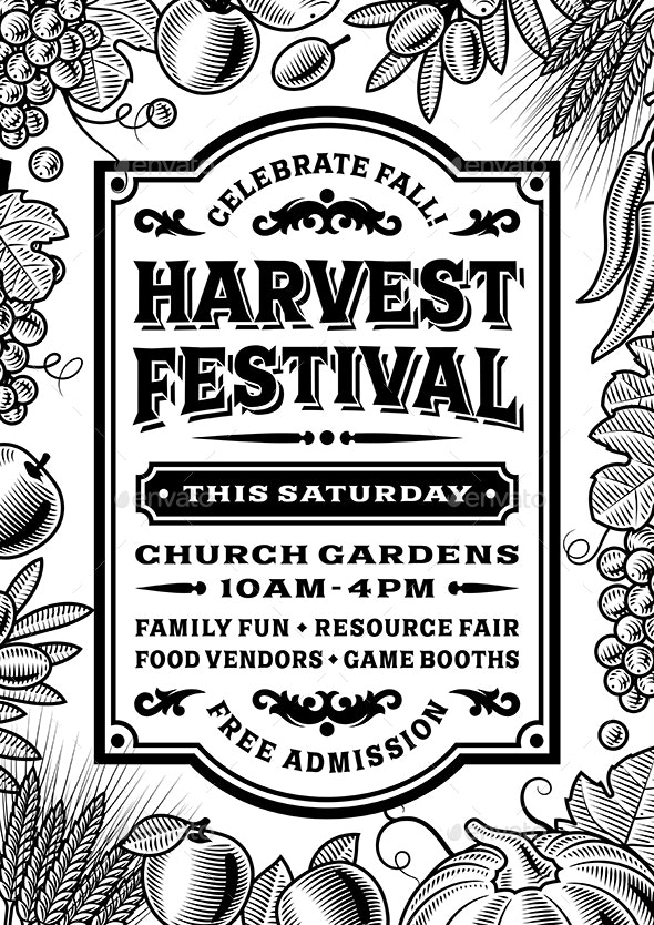 Vintage Harvest Festival Poster Black And White - Miscellaneous Seasons/Holidays