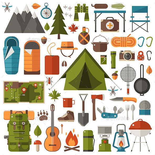 Hiking and Camping Set of Equipment