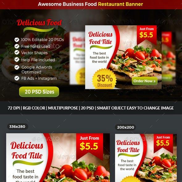Business Food Restaurant Banner Facebook Ads and Instagram
