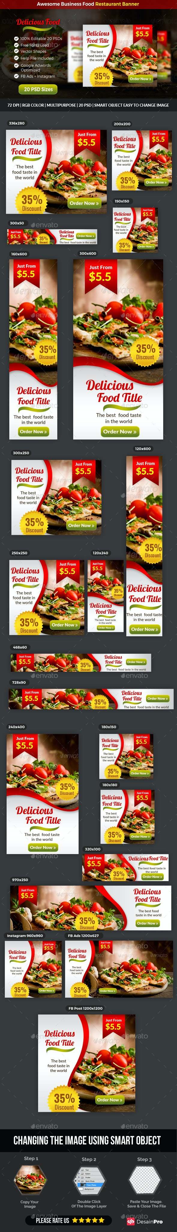 Business Food Restaurant Banner Facebook Ads and Instagram - Banners & Ads Web Elements