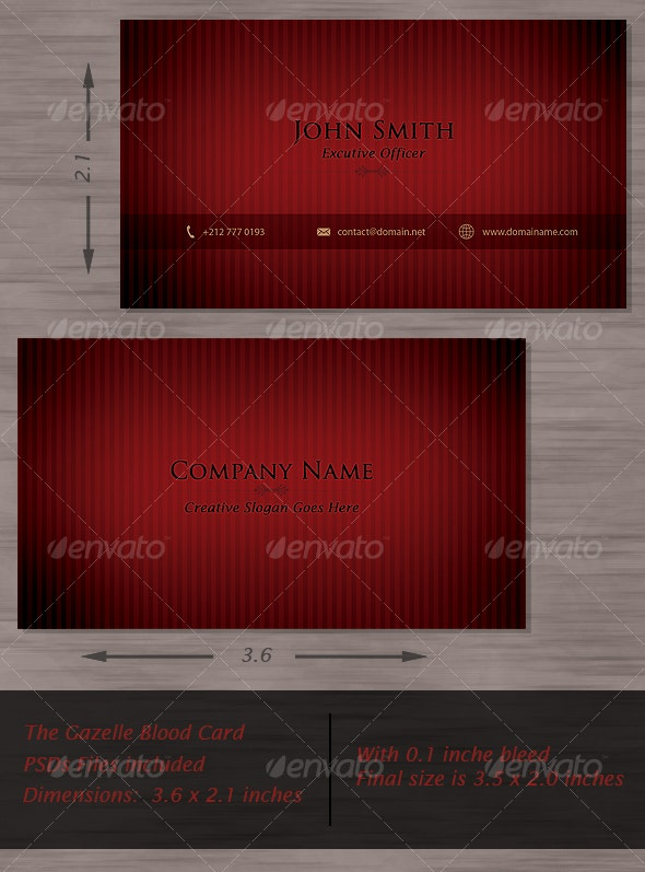 The Gazelle Blood Card - Corporate Business Cards