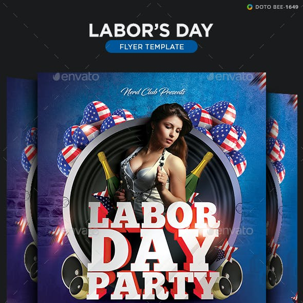 Labor Day Party Flyer Template - 2 Sizes