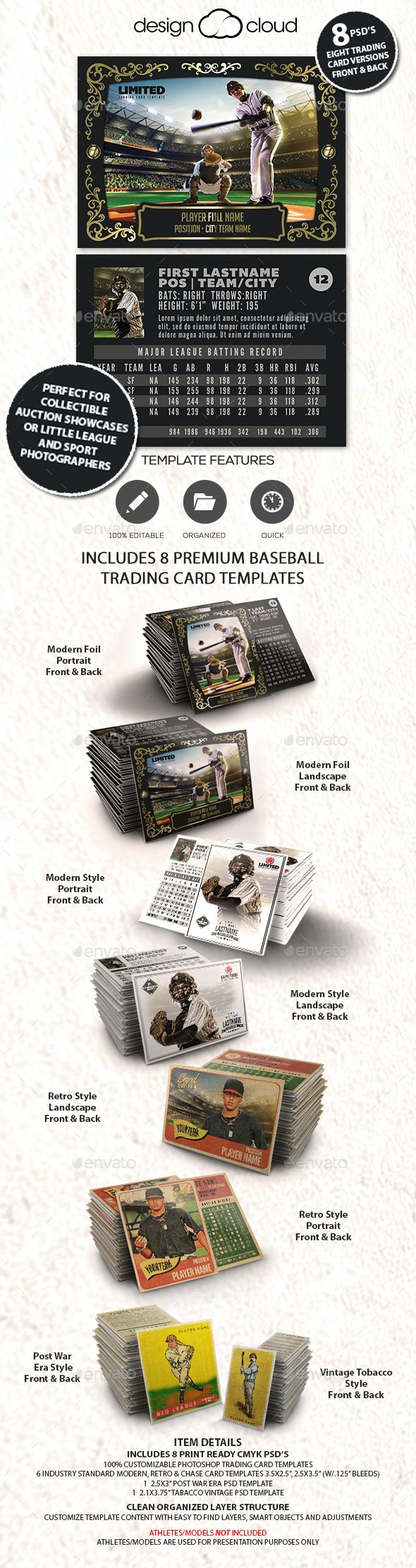8 Premium Baseball Trading Card Templates Collection - Miscellaneous Print Templates